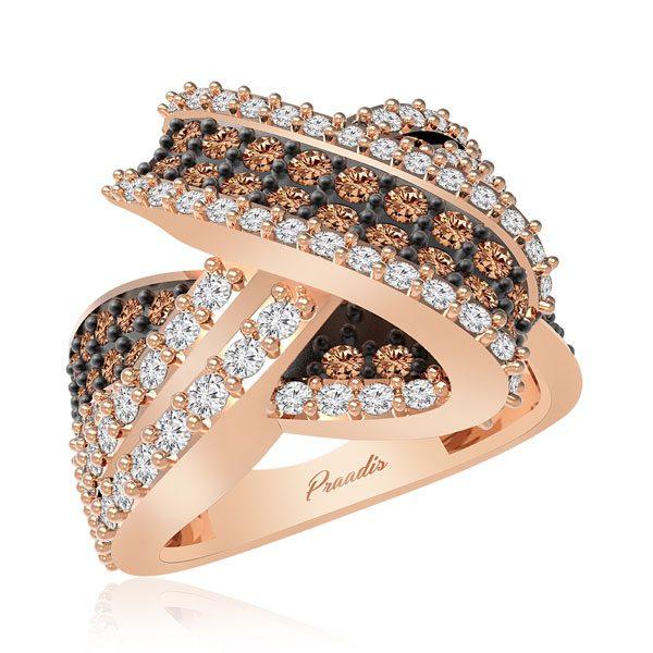 ARMA | 14 Kt Rose Gold | White & Brown diamonds Ring