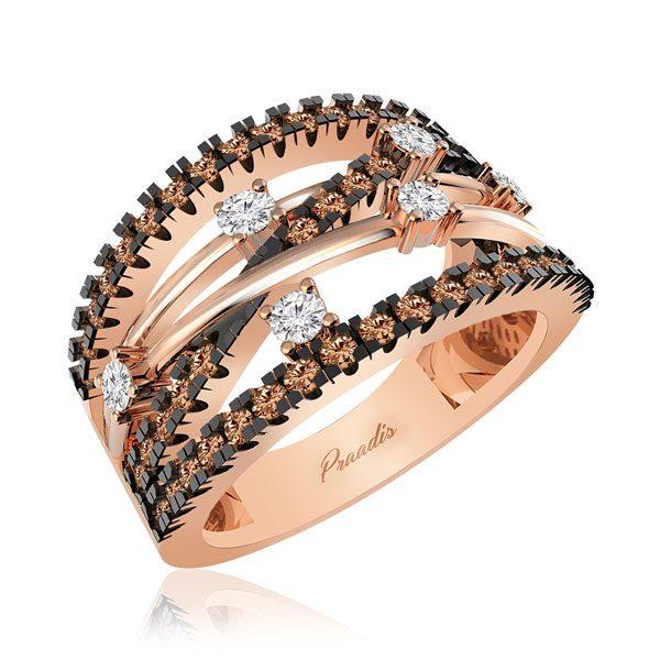Diamonds Ring | ARABELLA | 14Kt Rose Gold | Praadis
