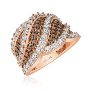 Luxury Diamonds Ring | ANNABEL | Cocktail White Brown Diamonds Ring