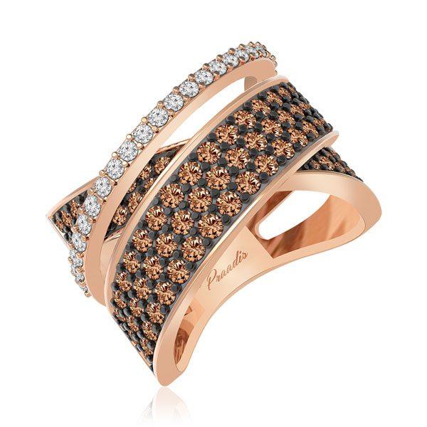 Cocktail Diamond Rings | ALICIA | White Brown Diamonds