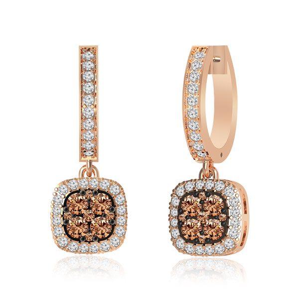 Earrings | MABEL | 14 Kt Rose Gold | White diamonds Earrings|Earrings
