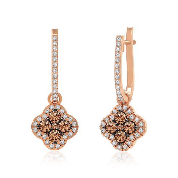 Cluster Diamond Earrings | DACEY | 14 Kt Rose Gold
