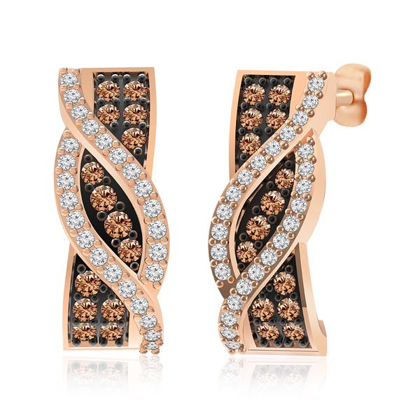 AUREL | 14 Kt Rose Gold | White & Brown diamond Studs | Praadis