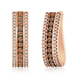 Rose Gold Hoops | ARANKA | White & Brown Diamonds Hoops