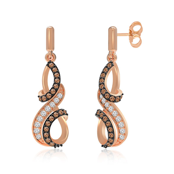 Perl 14k Rose Gold Brown Diamonds Praadis Earrings