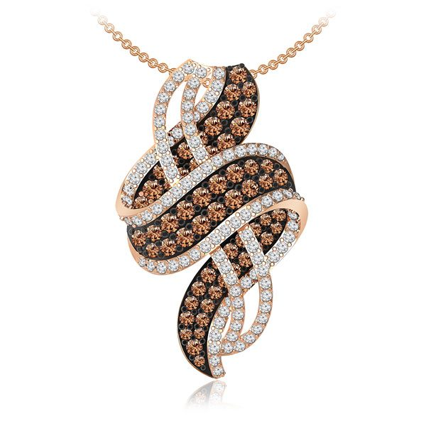 ARMA | White Brown diamonds Pendant | 14 Kt Rose Gold | Cocktail