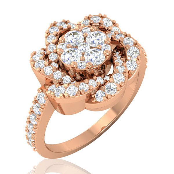 Diamond Cluster Ring | 14Kt Rose Gold | White Diamonds