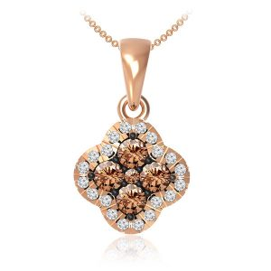 DACEY | Brown diamonds Pendant | 14 Kt Rose Gold