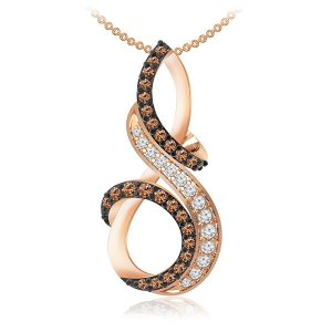 Casual Rose Gold Pendant | PERL | 14 Kt Rose Gold | White Diamonds