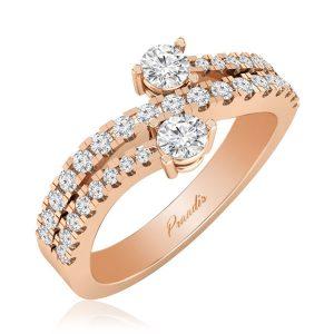 BI PIERRE | White Diamond Ring | 14 Kt Rose Gold