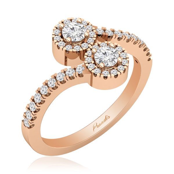 Two Stone Ring | BONNIE | 14 Kt Rose Gold, White diamonds