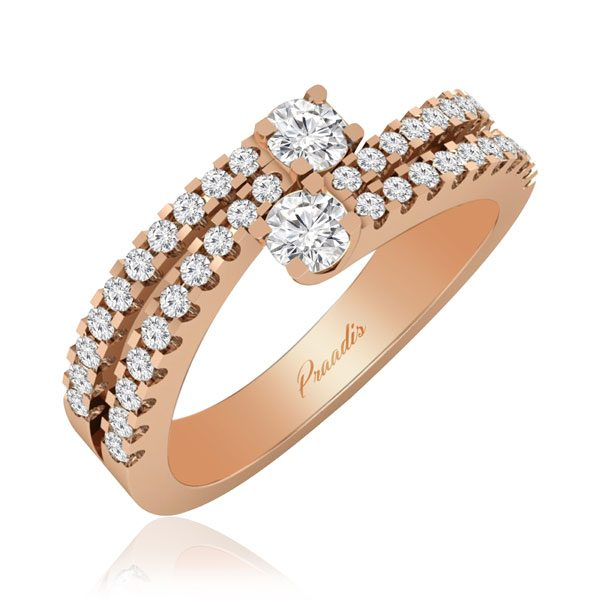 Two Stone Diamond Ring | ARISTIDE | 14 Kt Rose Gold