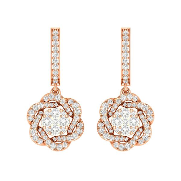 White Diamonds Cluster Earrings | MALEE | 14kt Rose Gold