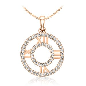 Casual Diamond Pendant | MEMORIA | 14 Kt Rose Gold | White diamonds