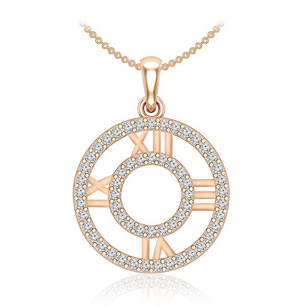 Casual Diamond Pendant | MEMORIA | 14 Kt Rose Gold | White diamonds