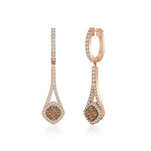 Cluster Diamond Earings | DARLINA | 14 Kt Rose Gold | Praadis