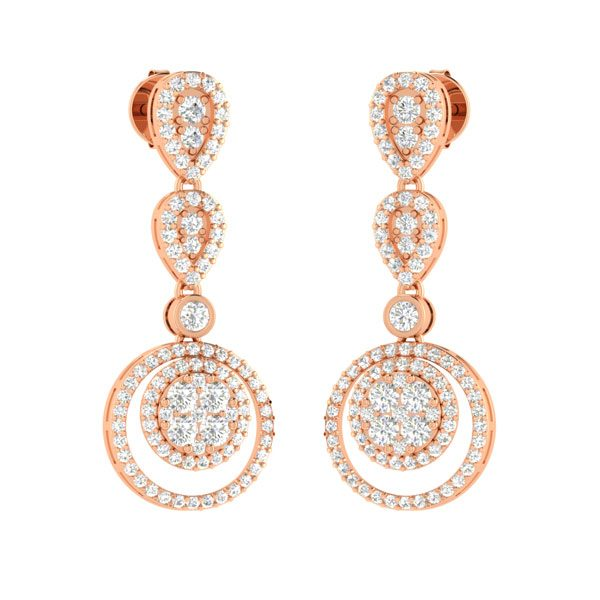 CADE | Gold Diamond Earings | Rose Gold Cocktail Earings