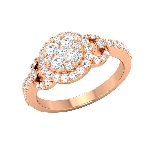 14kt Rose Gold Ring | ANNA | White diamond Ring