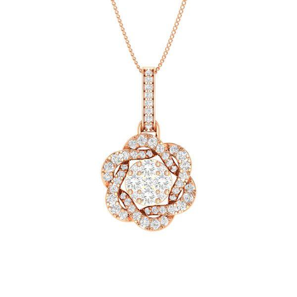 Pendant | MALEE, Cluster Diamond Pendant | 14 Kt Rose Gold
