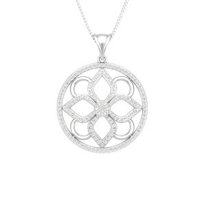 14Kt White Gold | AMIA | White Diamonds Cocktail Pendant