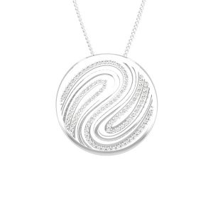 Gold Cocktail Pendant | CHERYL | 14 Kt White Gold ,White diamonds