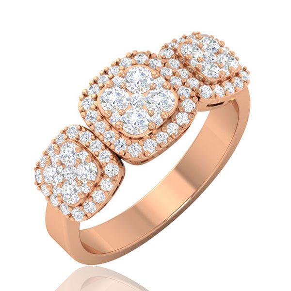 Cluster Diamonds Ring | NIZHONI | 14Kt Rose Gold