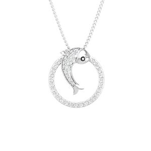 Diamond Fish Pendant | EVITA | 14 Kt White Gold with 41 White diamonds