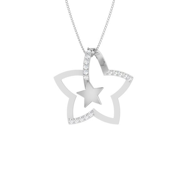 Star Pendant | STARLIS | 14 Kt White Gold | White diamonds
