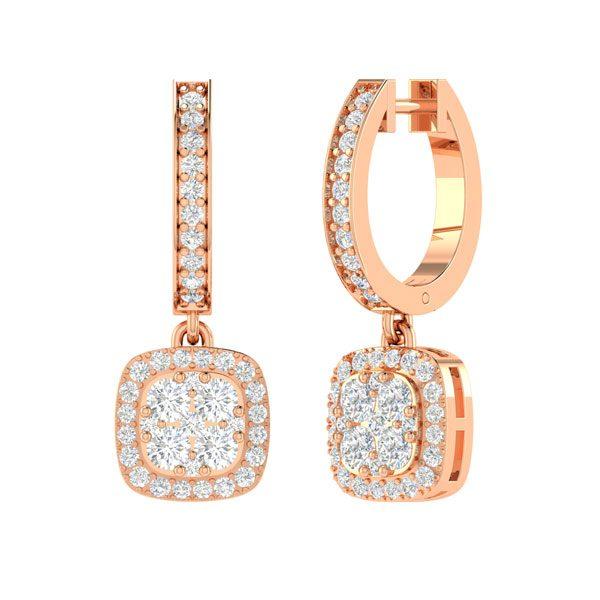 Diamond Cluster Earrings | NIZHONI | 14 Kt Rose Gold