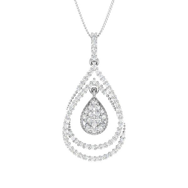ARISTA | 14 Kt White Gold Diamond Pendant | praadis.com