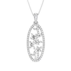 Cocktail Diamonds Pendant | DARNELL | 14 Kt White Gold| Praadis Luxury