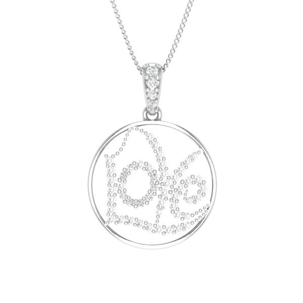 Love Heart Pendant | 14 Kt White Gold | White diamonds