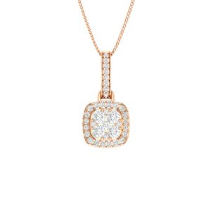 NIZHONI | 14kt Rose Gold | Diamond Pendant |Diamond Cluster Pendant