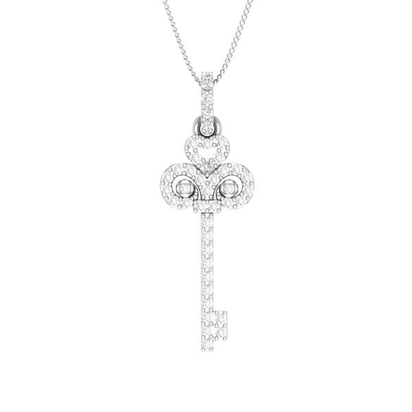 DESTINY |14 Kt White Gold Pendant | White diamonds Pendant |14kt White Gold