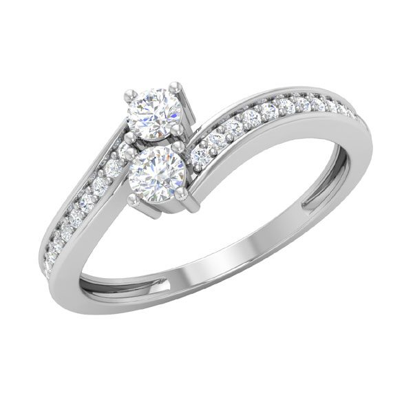Two Stone Gold Ring | DIDINA | 14 Kt White Gold & Diamonds
