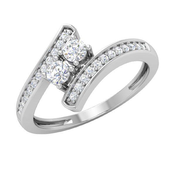 Twostone Diamond Ring | DIOR | 14Kt White Gold