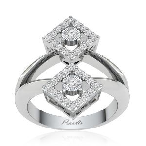 Clocktail Diamonds Ring | MACIE | 14Kt White Gold