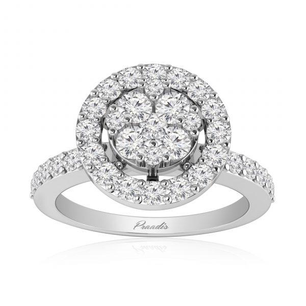 Cluster Ring | White Diamonds | LUSTER | 14Kt White Gold