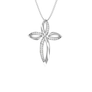 ADORABLE CROSS | 14kt White Gold | Spiritual Diamond Pendant