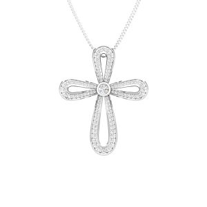 Spritual Pendant | SACRED CROSS | 14 Kt White Gold | White Diamonds