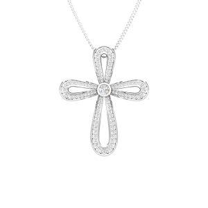 Spritual Pendant   SACRED CROSS   14 Kt White Gold   White Diamonds