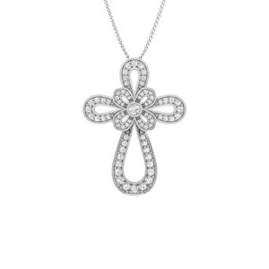 Spritual Cross Pendant | 14Kt White Gold | White Diamonds