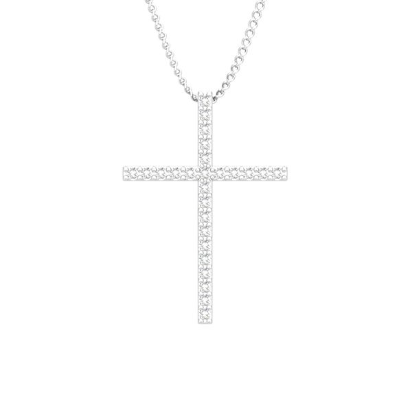 Classic Cross | 14Kt White Gold | White diamonds Pendant