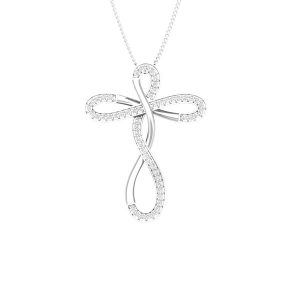 Cross Jewelry | SPIRAL CROSS | White Gold Diamond Pendant