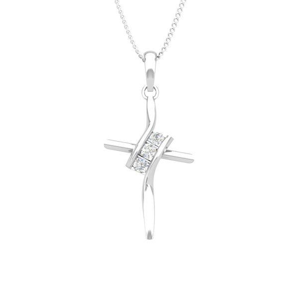 Spritual Diamond Jewelry | LOVELY CROSS Pendant | 14kt White Gold