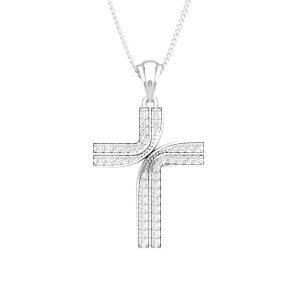 Cross Diamonds Pendant | GUARDIAN CROSS | 14 Kt White Gold