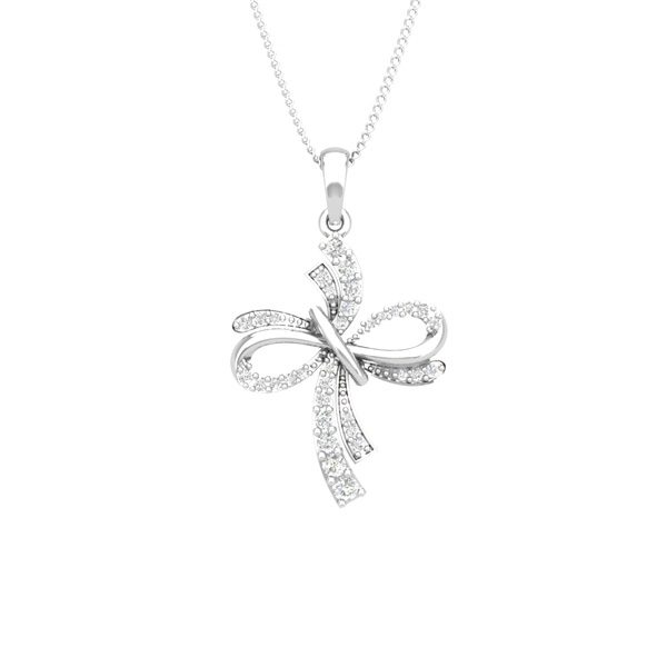 CRISS CROSS | 14 Kt White Gold | Spritual Diamond Pendant