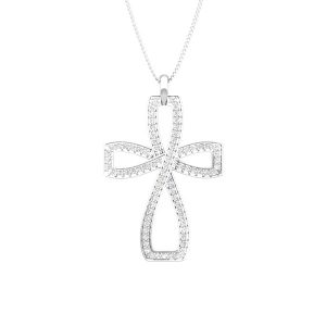Cross White Diamonds Pendant | PIOUS ME CROSS | White Gold
