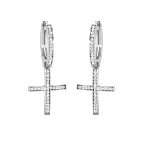 Spritual Diamond Earrings | HANGING CROSS | 14 Kt White Gold
