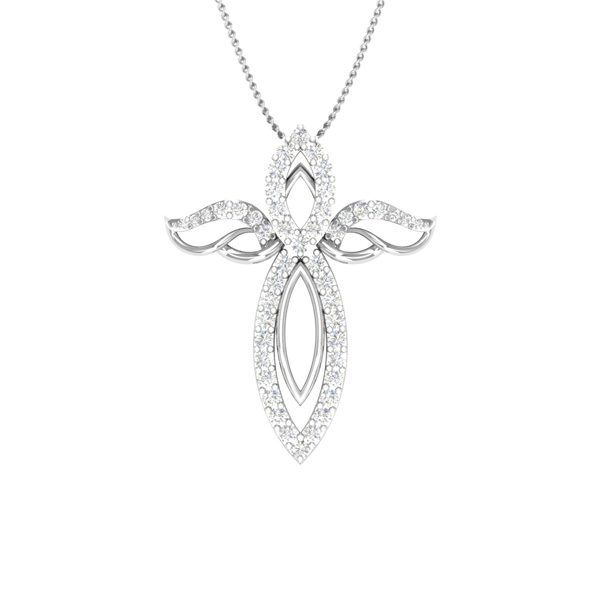 Cross Diamond Pendant | ANGEL CROSS| 14 Kt White Gold |Praadis.com